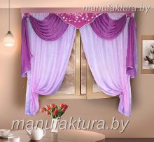 Кухонная штора цвет розовый